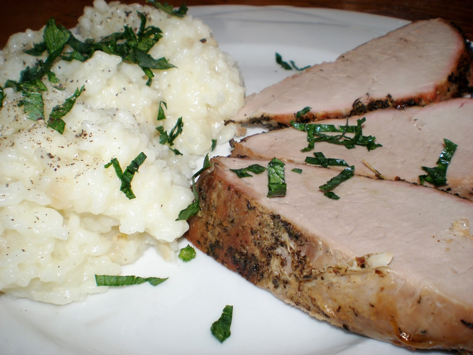 Mușchiuleț în crustă și orez cu țelină