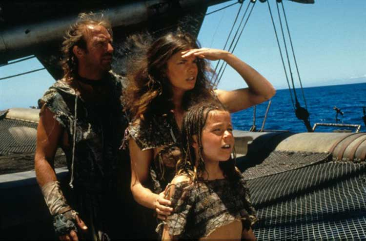 Kevin Costner and Jeanne Tripplehorn star in Waterworld.