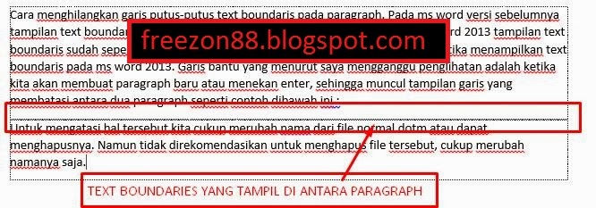 menghilangkan text boundaries antar paragraph ms word 2013