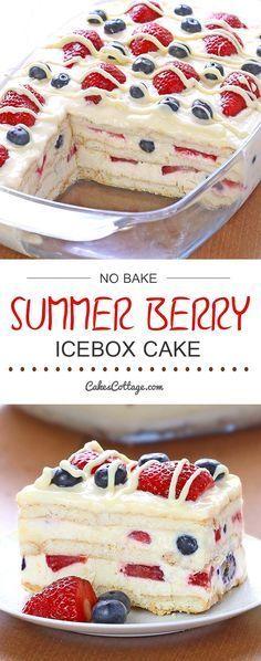 No Bake Summer Berry Icebox Cake #nobake #summerfood #berry #icebox #cake #cakerecipes #dessert dessertrecipes #easydessertrecipes