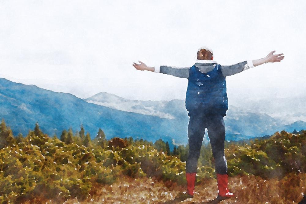 水彩画の登山風景