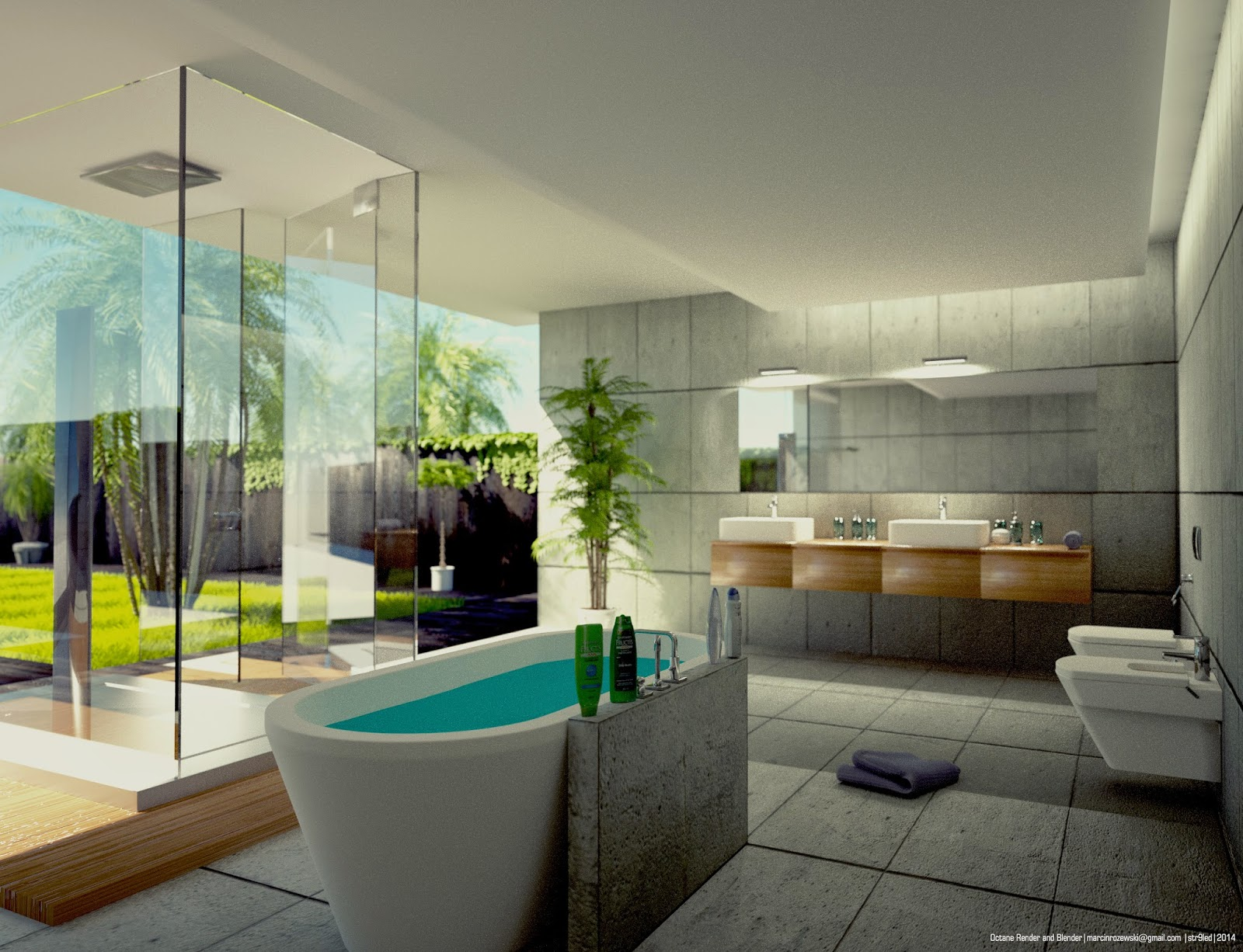Bathroom octane render and blender architectural rendering for Bathroom design 3d model