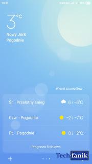 Xiaomi Redmi Note 4 MIUI 10 aplikacja pogoda