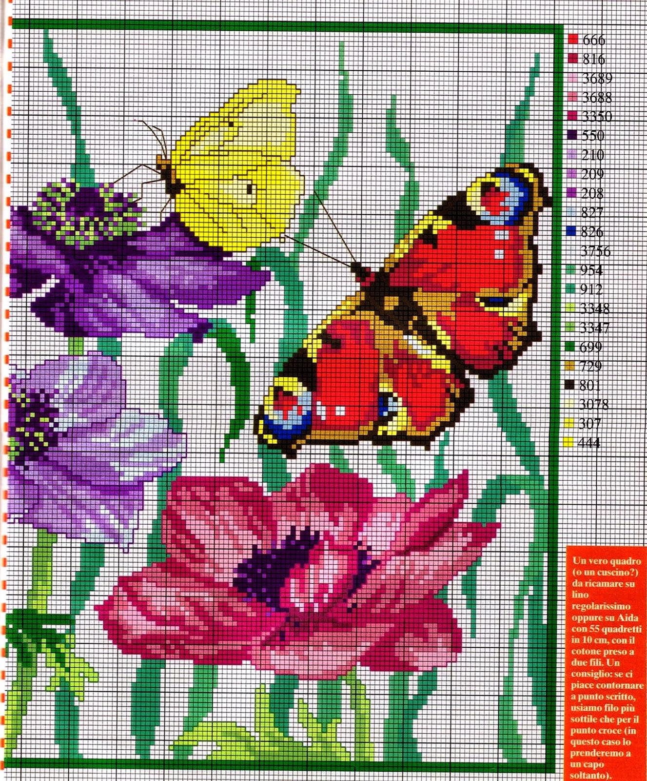 Grande raccolta di schemi e grafici per punto croce free for Farfalle punto a croce