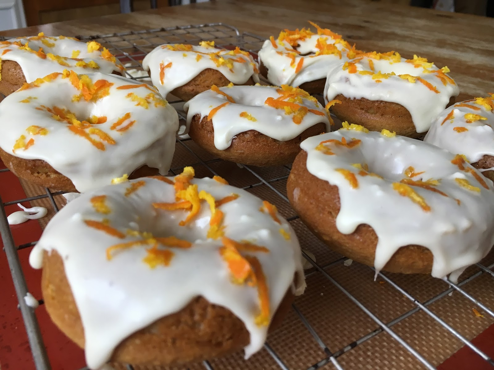 Vegan Orange and White Chocolate Donuts