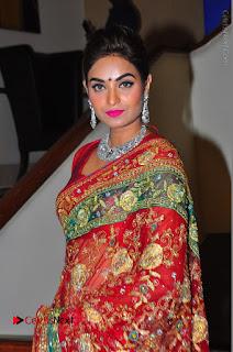 Model Sharon Fernandes Stills in Red Saree at Trendz Exhibition Launch  0012.JPG