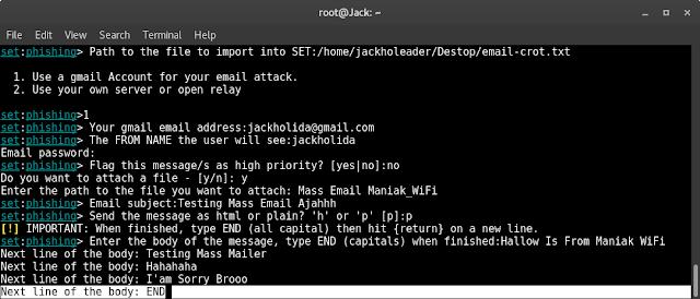 Cara Mass Mailler dengan Setoolkit di Kali Linux
