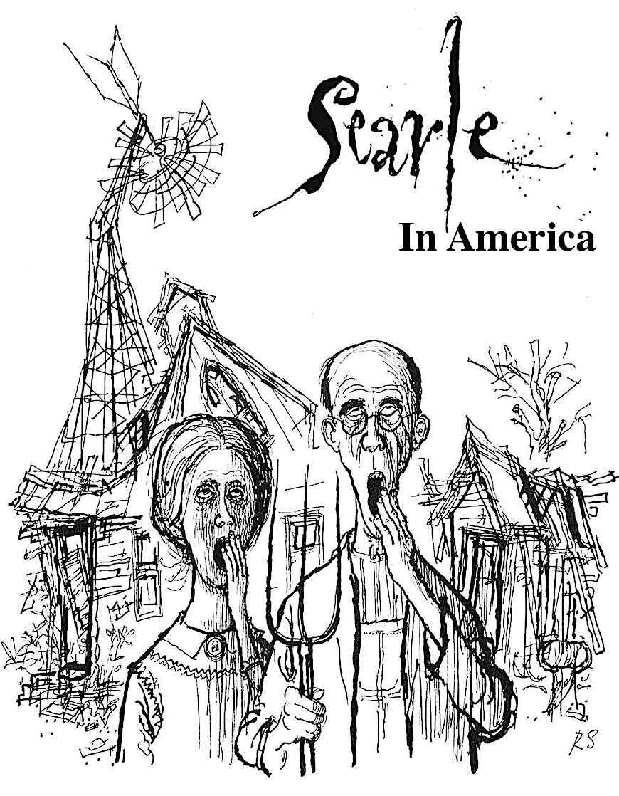 """Searle in America"", a cartoon image by Ronald Searle"