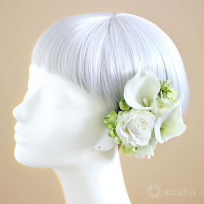 カラーの髪飾り-ウェディングブーケと花髪飾りairaka