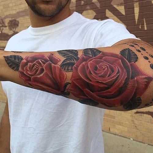 man forearm rose tattoo erkek kol gül dövmesi