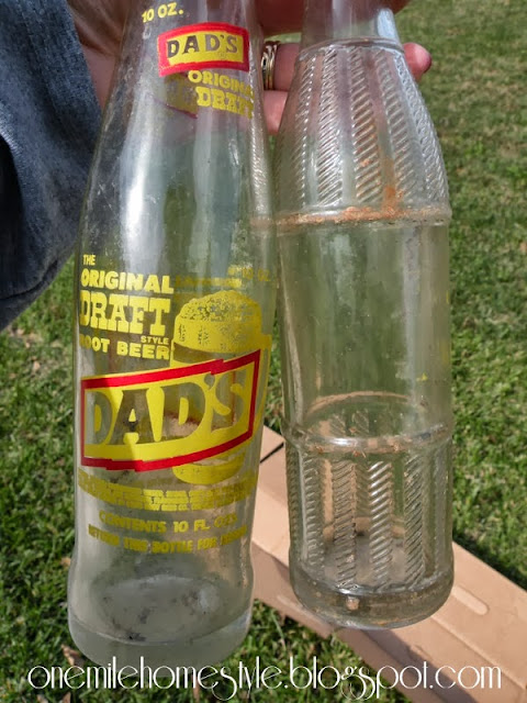 Old soda bottles - before