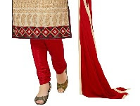 Churidar is a tight-fitting long trousers tapering to a tight fit at the calf and ankle together in folds at the ankle, usually cut on the bias to wear it comfortably, worn by Indian women. It is also known as a creased salwar.