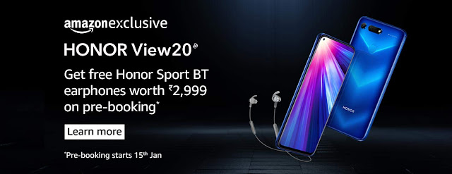 Honor View 20 India Pre-Bookings Open with Free Honor Sport BT Earphones