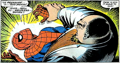 Amazing Spider-Man #69, john romita, Jim mooney, using his full power, the kingpin sets about crushing spider-man's wrist, with his hand