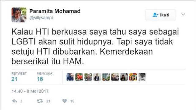 Puteri Goenawan Muhamad: Jika HTI Berkuasa, Sebagai LGBT Saya Susah Hidupnya!