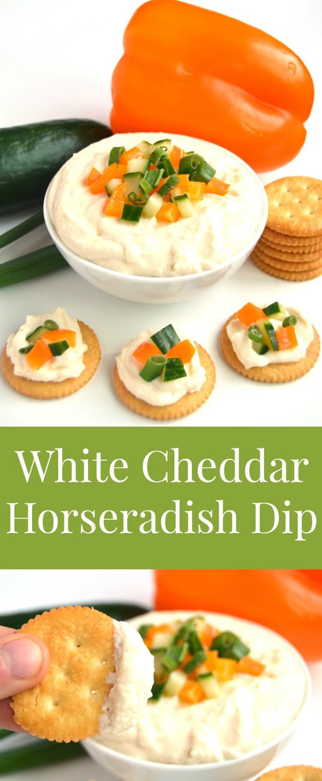 White Cheddar Horseradish Dip is ready in 5 minutes, has just 4 ingredients and is full of flavor with sharp white cheddar cheese and tangy horseradish! Topped with finely diced vegetables and served with crackers for an easy appetizer. www.nutritionistreviews.com