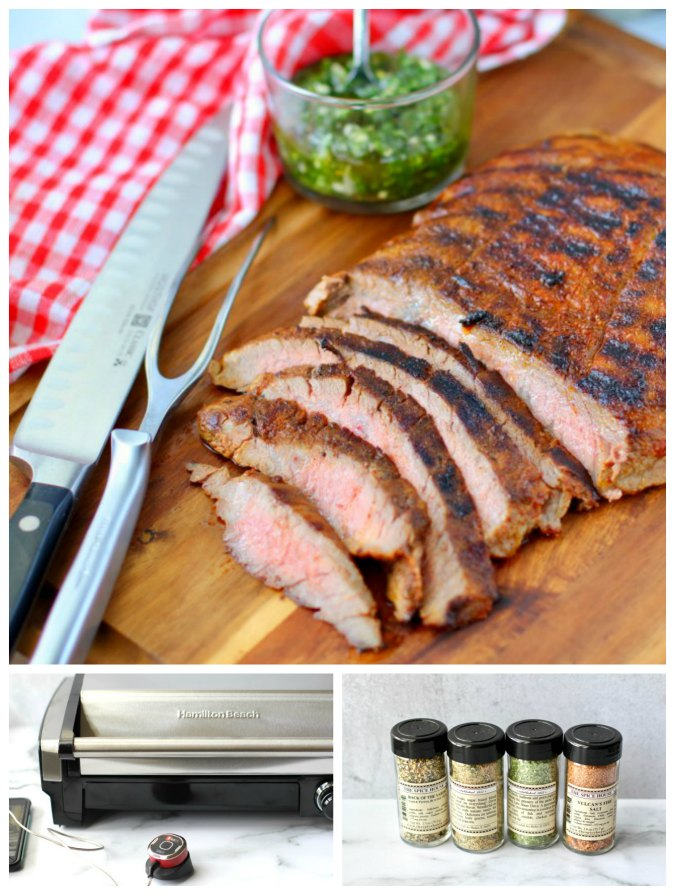 Sliced grilled Flank Steak with Chimichurri Sauce