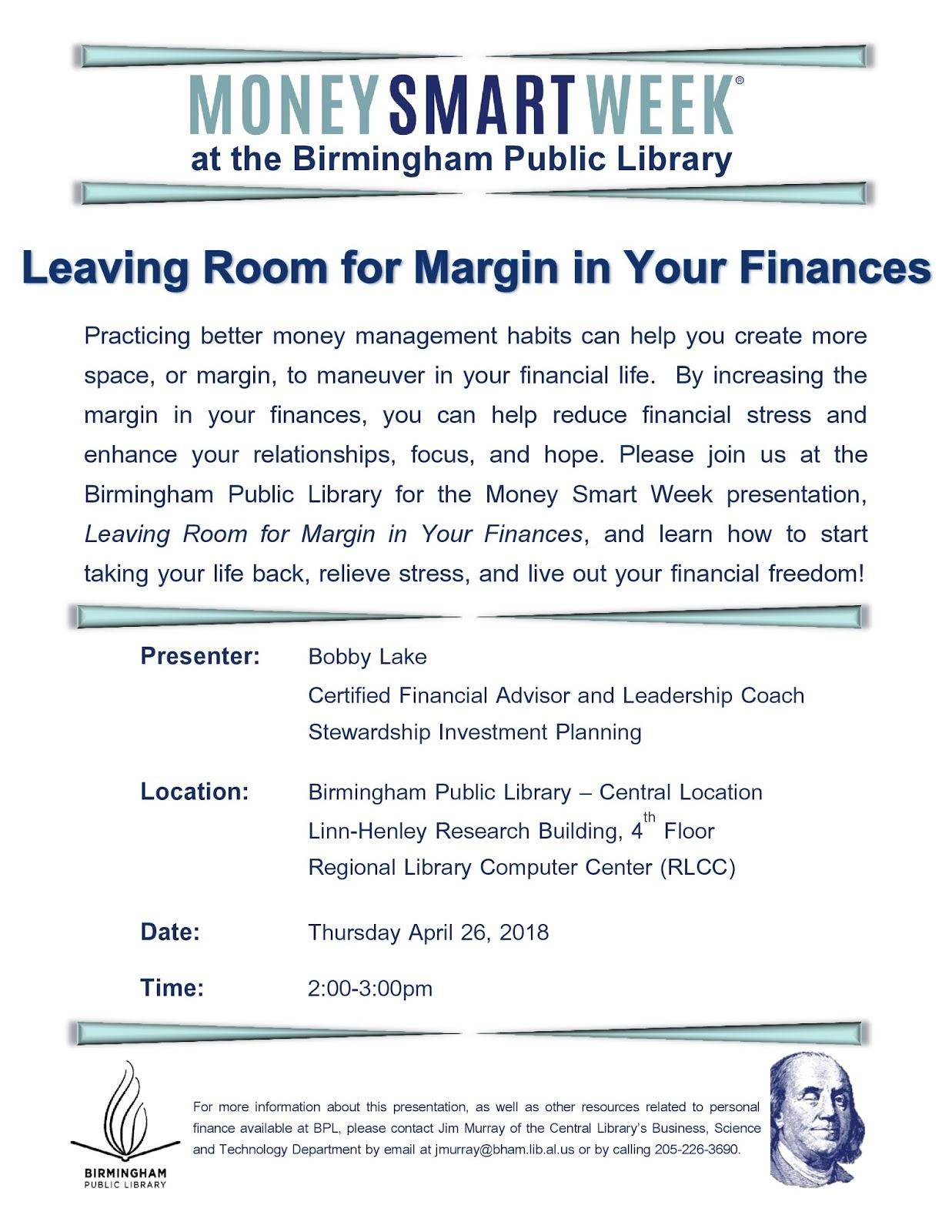 Birmingham Public Library: Celebrate Money Smart Week at the
