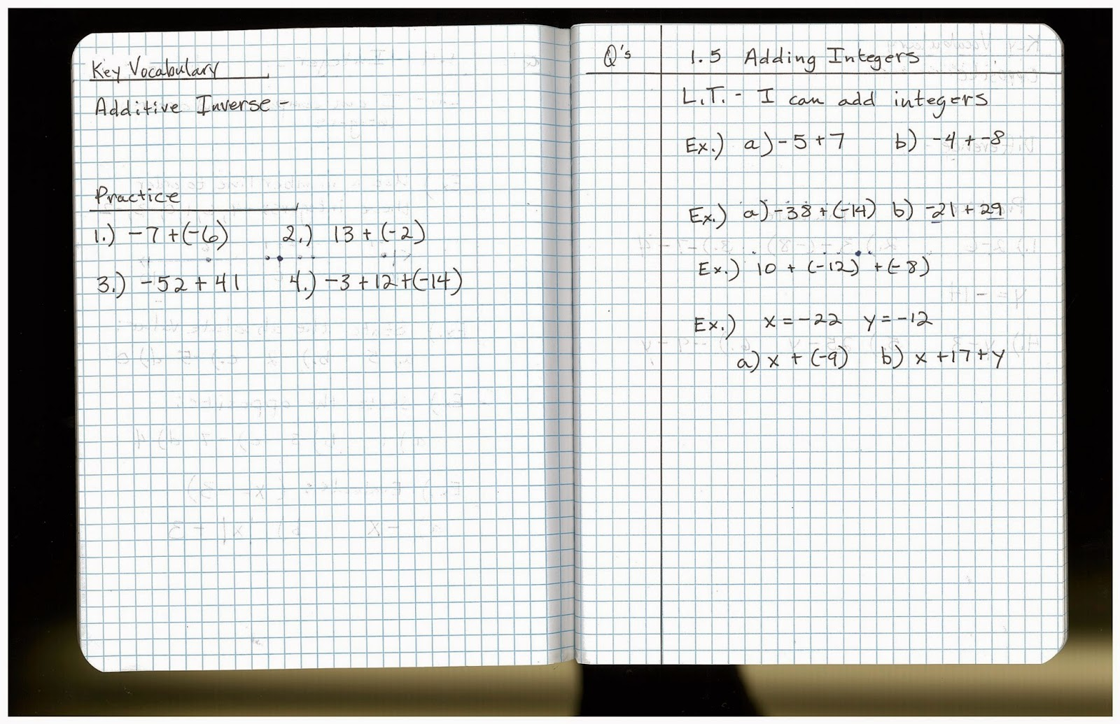 Heidemann 8th Grade Math Pre Algebra Notes And Hw Monday 9 8
