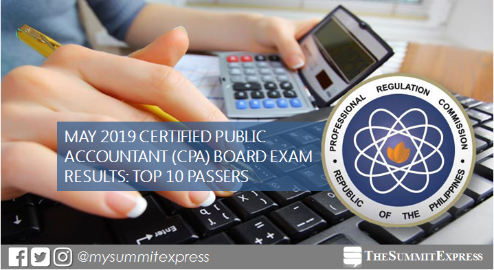 RESULT: May 2019 CPA board exam top 10 passers