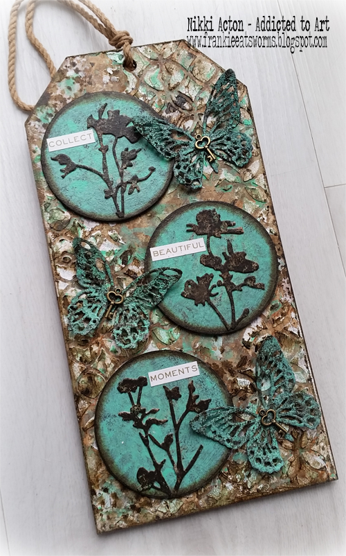 MDF Tag with crackle background, distress paints, wildflowers and mini detailed butterflies. Nikki Acton - Addicted to Art.