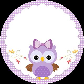 Toppers o Etiquetas de Lechuza Púrpura para imprimir gratis.