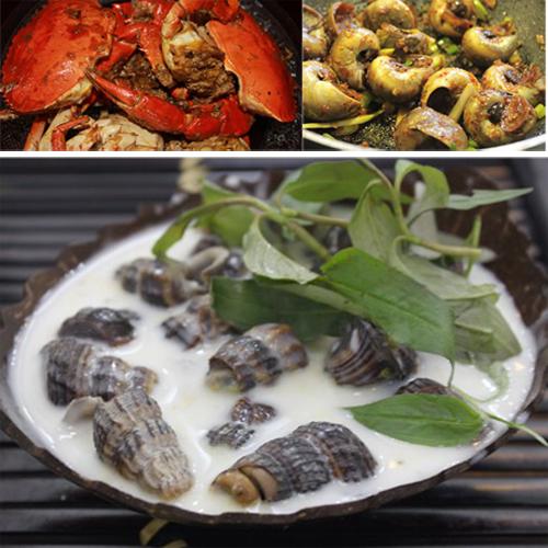 cua ốc nướng - đặc sản Bạc Liêu