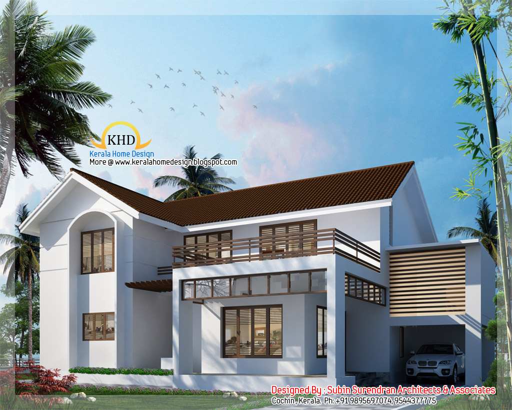 3000 sq ft 5 bedroom villa elevation kerala home for Modern 5 bedroom house floor plans