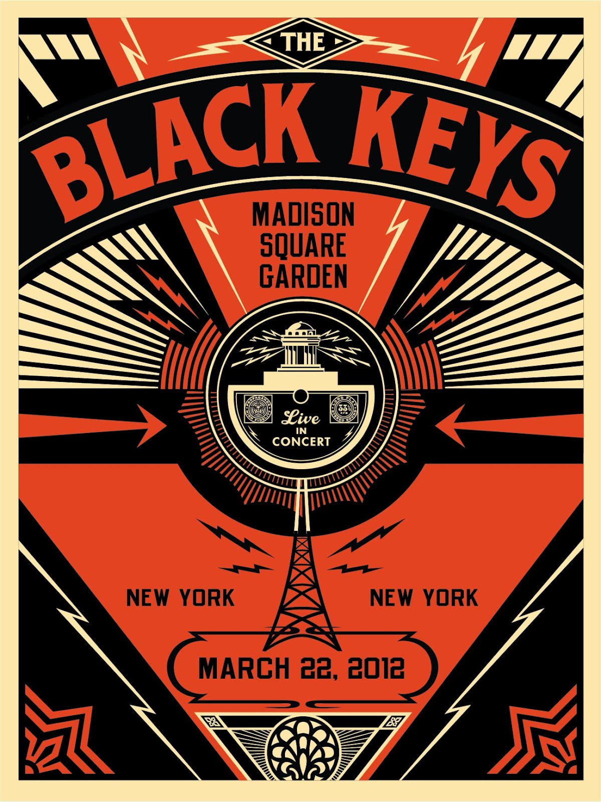 Inside the rock poster frame blog tonight 39 s the black keys poster from new york madison square for Madison square garden concert tonight