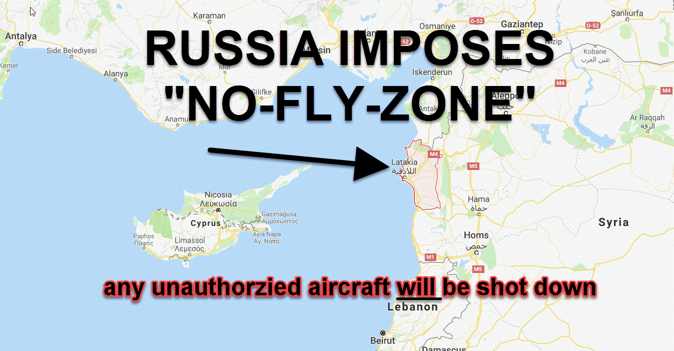 breaking news russia imposes no fly zone over latakia syria including u s aircraft