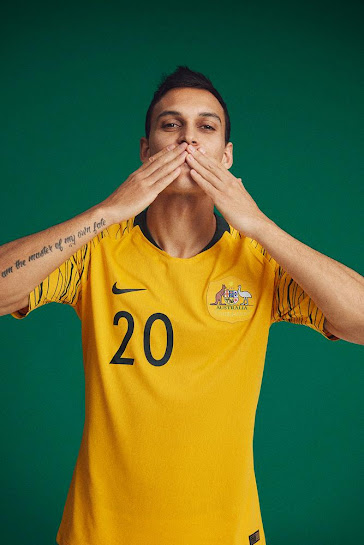16af6c9e1 Australia 2018 World Cup Home and Away Kits + Pre-Match Jersey ...