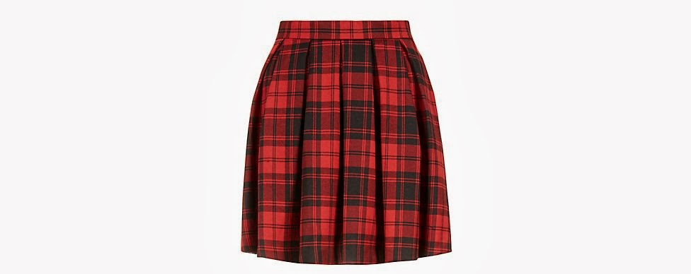Red tartan check skirt from New Look