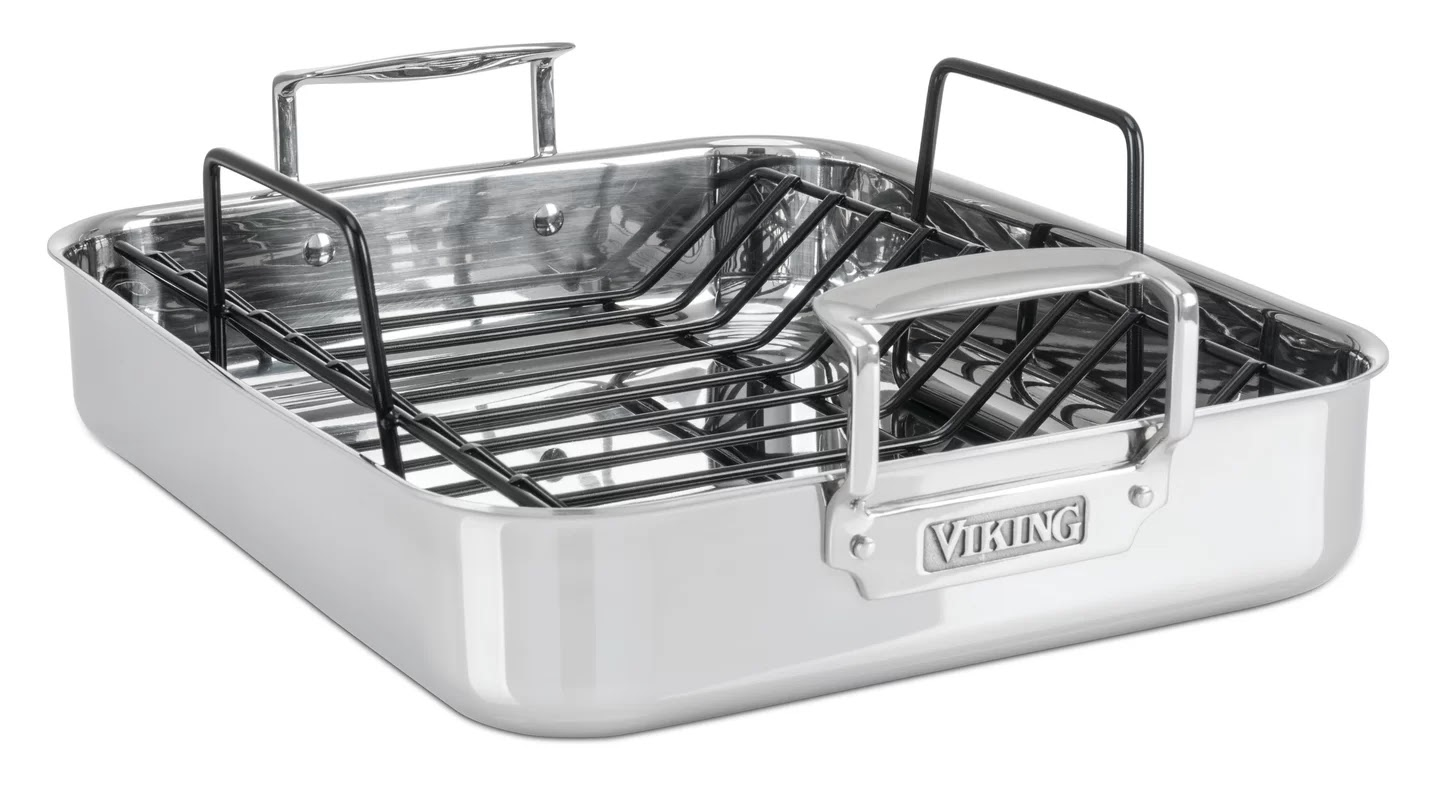 viking 3 ply stainless steel roasting pan with nonstick rack 16 inch by 13 inch. Black Bedroom Furniture Sets. Home Design Ideas