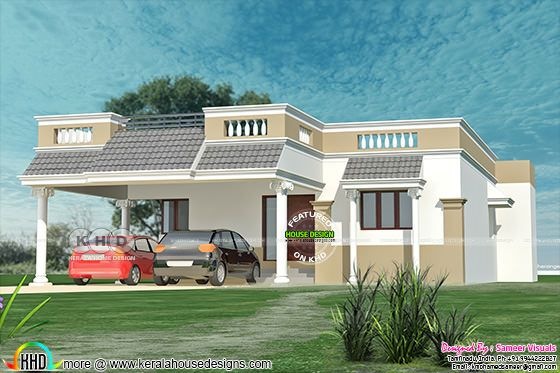 Tamilnadu style 3 bedroom single floor home 1380 sq-ft
