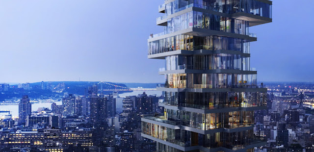 Rendering of 56 Leonard Street by Herzog & De Meuron at night and New York City in the background