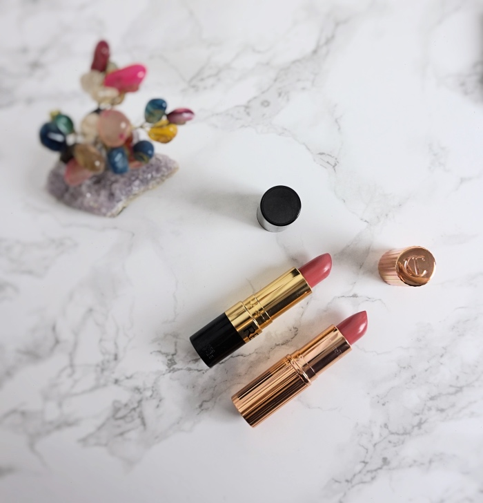 Charlotte Tilbury Kissing Lipstick Blushing Dream VS Revlon Super Lustrous Pink In The Afternoon
