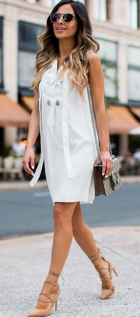 stylish office outfit: white dress + heels + bag