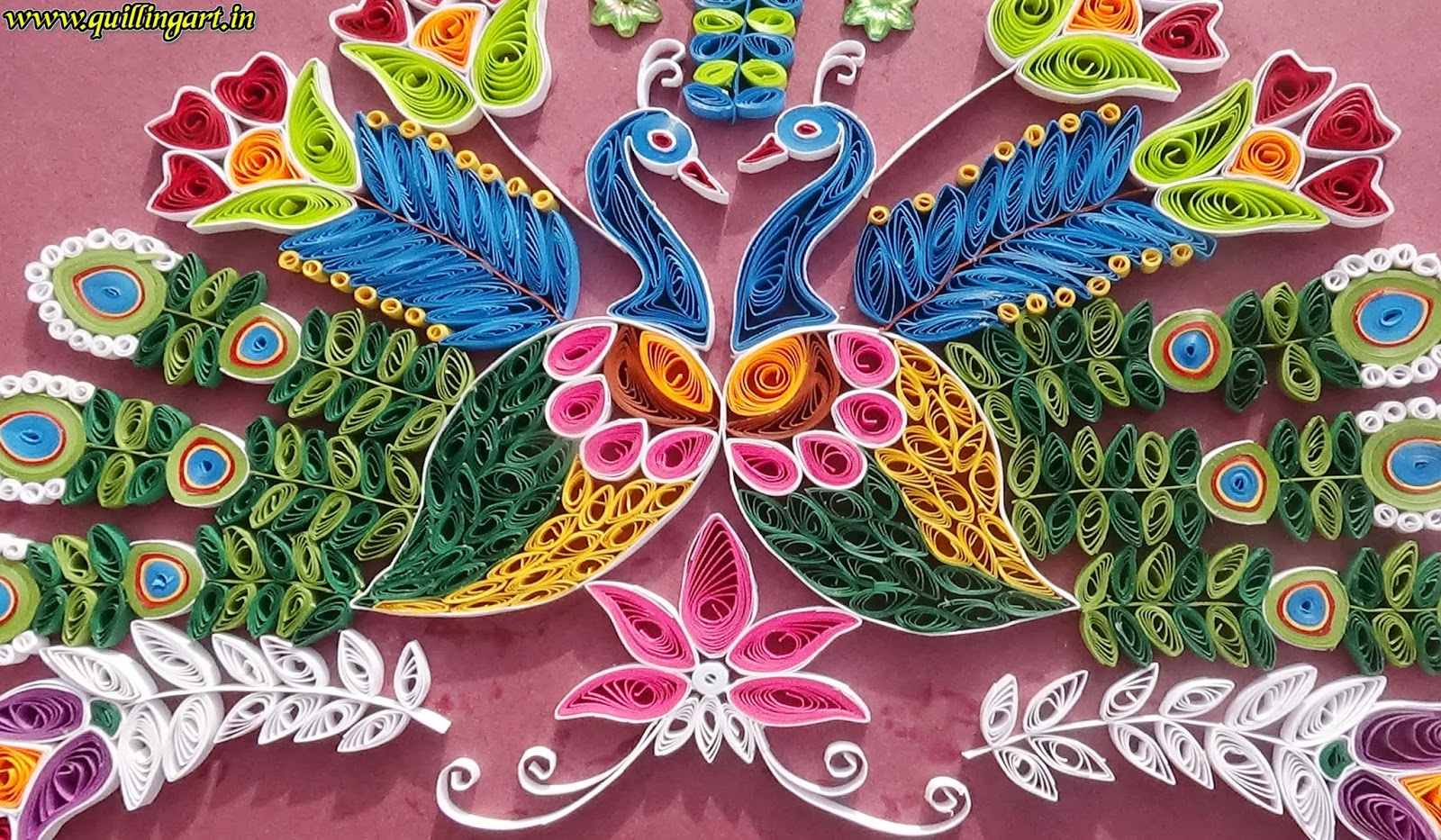 Quilling art how to make beautiful peacocks for wall for How to quilling art