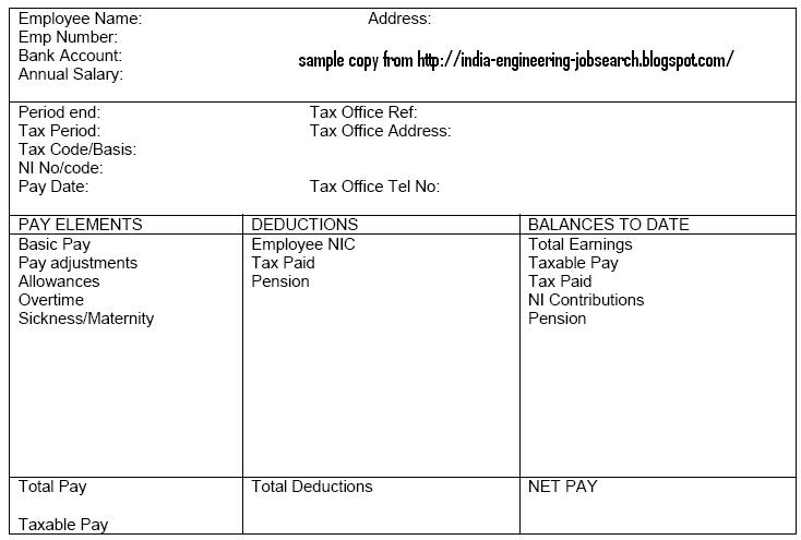 INDIAN ENGINEERING Pay slip/ Salary slip Details with Basic pay, PF - payment slip sample