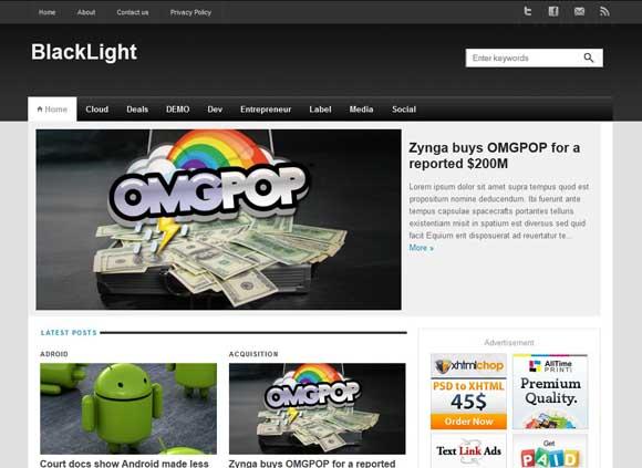 Black Light Blogger Template