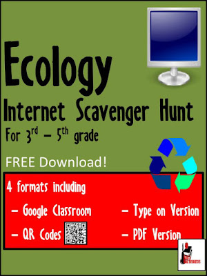 Free ecology internet scavenger hunt with Google Classroom and QR Codes from Raki's Rad Resources.