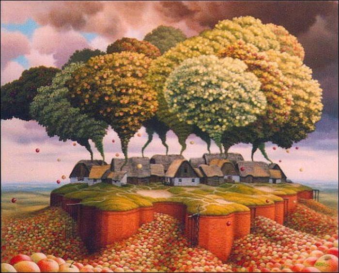 A Receita de Bolo de Maçã - Jacek Yerka e seu surrealismo fantástico ~ Polonês