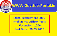 Police Recruitment 2016 for 100+ Intelligence Officers Apply Online Here