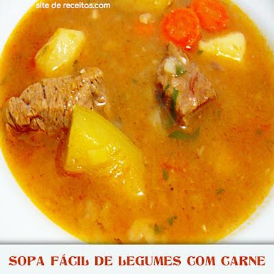Sopa fácil de legumes com carne