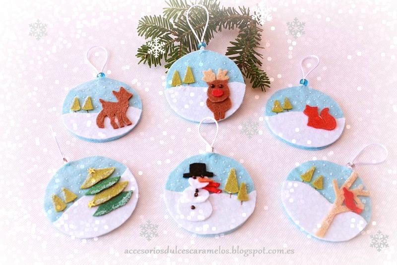 Fieltro dulcescaramelos bolas de navidad en fieltro - Bolas de navidad de fieltro ...