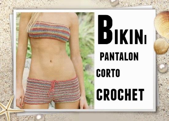 bikinis crochet, short crochet, ropa de playa, trajes de baño