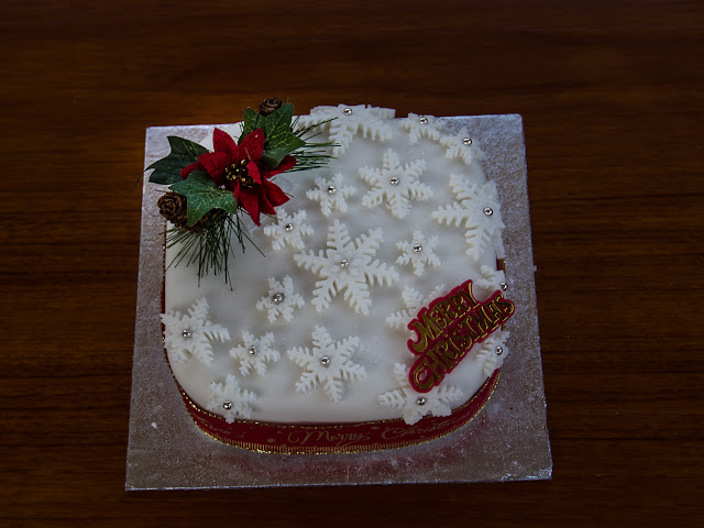 Photo of the Christmas cake that mysteriously appeared on our aft deck