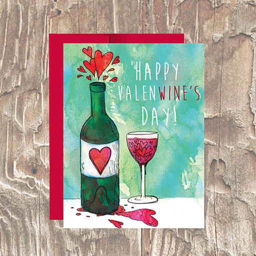 Happy ValenWINES Day Vday Card - Erin Clark - Inked in Red