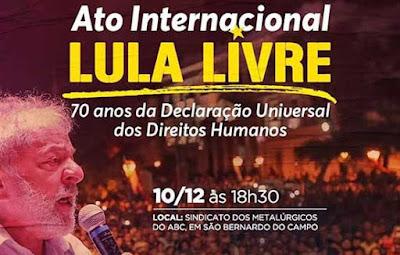 Cartaz Ato Internacional Lula Livre