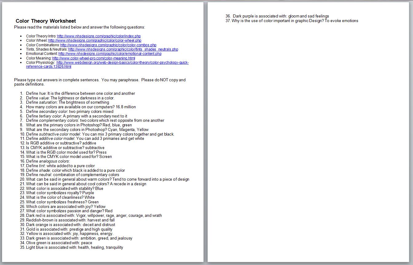 Emmett Hubbard Kennady Iv Color Theory Worksheet